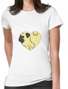 Heart Pug Womens Fitted T-Shirt