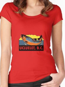 Ucluelet BC Salmon Fishing Vintage Travel Decal Women's Fitted Scoop T-Shirt