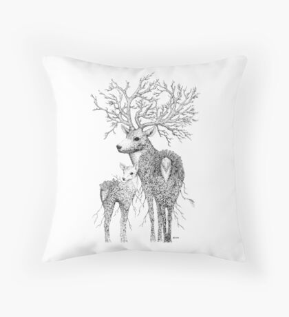 Leaf Stag and Deer Throw Pillow