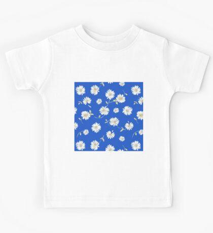 deep blue,white spoon flowers Kids Tee