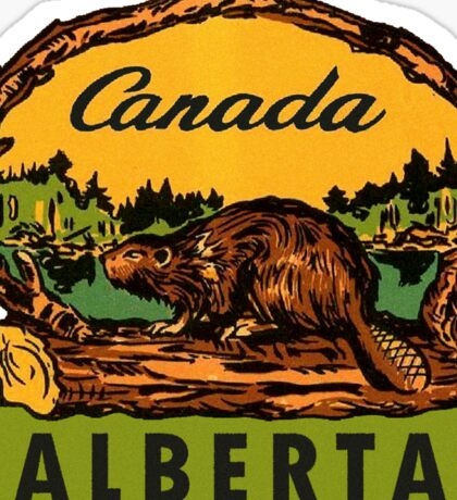 Alberta Beaver AB Canada Vintage Travel Decal Sticker