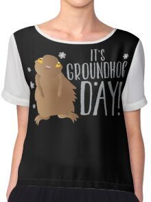 It's GROUNDHOG DAY! with cute little groundhog and snowflakes Chiffon Top