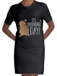 It's GROUNDHOG DAY! with cute little groundhog and snowflakes Graphic T-Shirt Dress