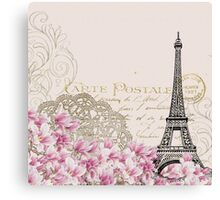 Vintage postcard with eiffel tower and pink flowers Canvas Print