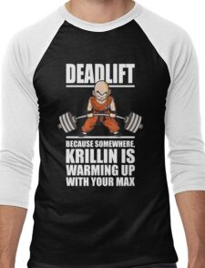 Deadlift - Krillin Is Warming Up With Your Max Men's Baseball ¾ T-Shirt
