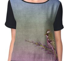 Beautiful bird sitting on brach with purple flowers Chiffon Top