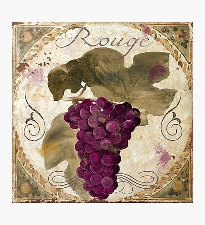 Tuscan Table Rouge Wine Grapes Photographic Print