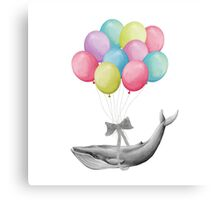 Whale With Balloons - colorful Canvas Print