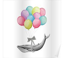 Whale With Balloons - colorful Poster