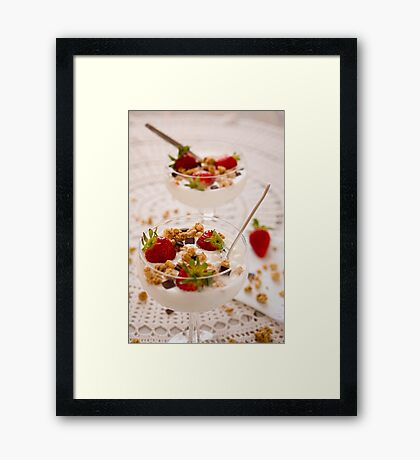 Dessert with strawberries cereals and chocolate flakes Framed Print