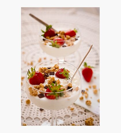 Dessert with strawberries cereals and chocolate flakes Photographic Print
