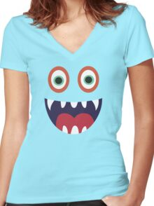 Cool Happy Monster Face T-shirt Cute Smily Face Kids Tshirt Women's Fitted V-Neck T-Shirt