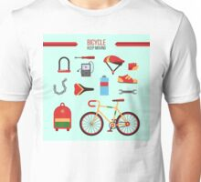 Bicycle Kit Keep Moving. City Bicycle with Accessories for Healthy Lifestyle Unisex T-Shirt