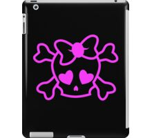Pink girly emo skull with bow teenage girl on black iPad Case/Skin