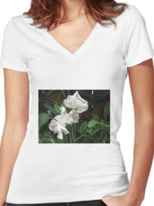Fresh and Pure - Raindrops on Sweet Peas Women's Fitted V-Neck T-Shirt