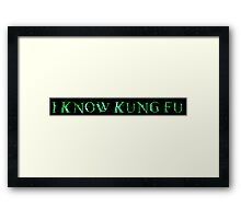 I KNOW KUNG FU. MATRIX QUOTE  Framed Print