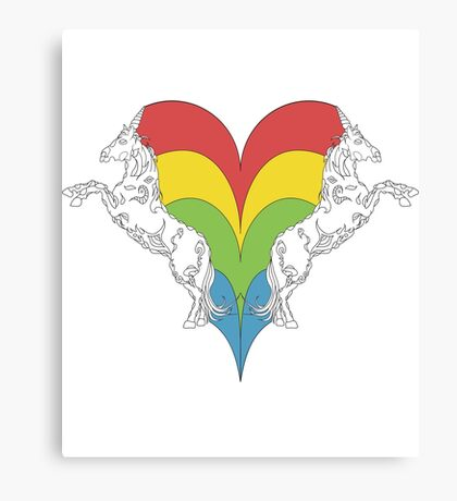 Unicorn couple combined in colorful heart Canvas Print