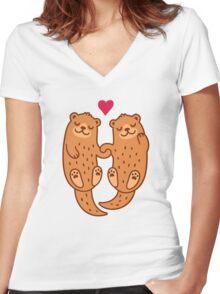 Otterly adorable T-shirt femme moulant col V