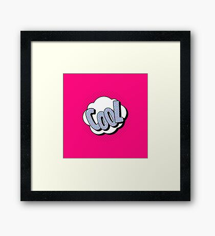 Comics Bubble with Expression Cool in Vintage Style Framed Print