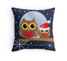 Cute Christmas Owls & Merry Christmas text Throw Pillow
