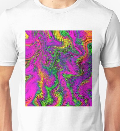 pink blue green orange yellow curly line drawing abstract background Unisex T-Shirt
