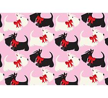 Black and Wheaton Scotties (pink) by BonniePortraits