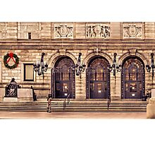 Christmas night at Boston Public Library Photographic Print