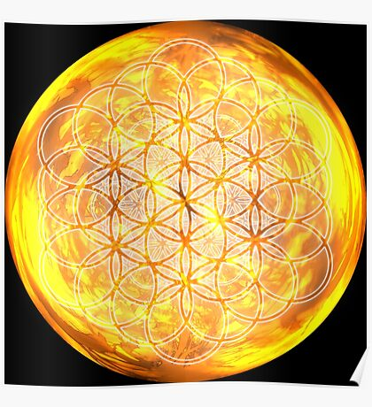 Sacred Geometry Flower of Life Sun Glow Poster