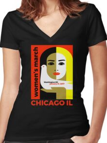 Women's March on Washington 2017, Chicago Illinois Women's Fitted V-Neck T-Shirt