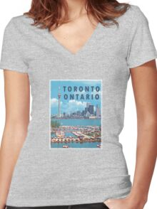 Toronto Ontario Canada Vintage Travel Decal Women's Fitted V-Neck T-Shirt