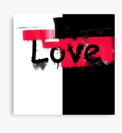 Black and red white pattern Love . Canvas Print