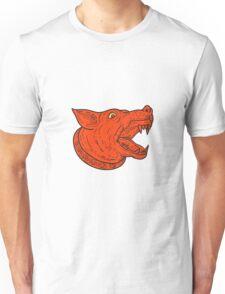 Mad Mongrel Dog Head Barking Mono Line Unisex T-Shirt