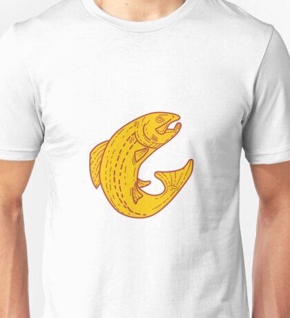 Rainbow Trout Jumping Mono Line Unisex T-Shirt