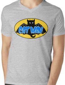 CATMAN Mens V-Neck T-Shirt