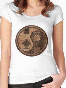 Wooden Bass Guitar T Shirt - Music Pulse, Notes, Clef, Frequency, Wave, Sound, Dance Women's Fitted Scoop T-Shirt