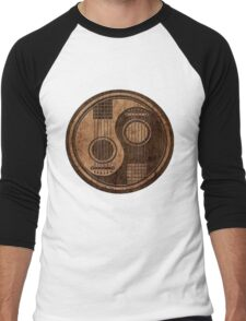 Wooden Bass Guitar T Shirt - Music Pulse, Notes, Clef, Frequency, Wave, Sound, Dance Men's Baseball ¾ T-Shirt
