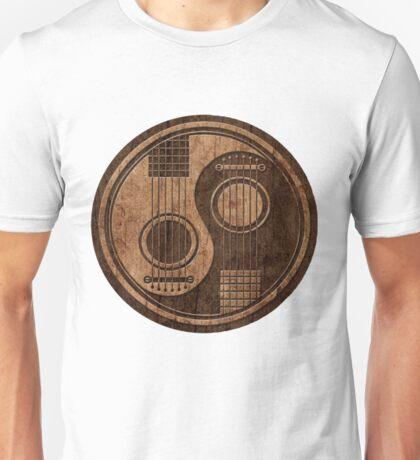 Wooden Bass Guitar T Shirt - Music Pulse, Notes, Clef, Frequency, Wave, Sound, Dance Unisex T-Shirt