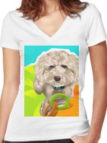 CHARLIE - Apricot Poodle Women's Fitted V-Neck T-Shirt