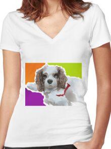 L.V. - Cavalier King Charles Spaniel Women's Fitted V-Neck T-Shirt