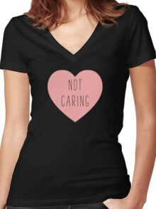 I Love Not Caring Heart | Antisocial | Hearts Women's Fitted V-Neck T-Shirt