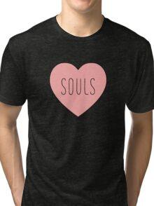 I Love Souls Heart | Dark Humor Hearts Print Tri-blend T-Shirt