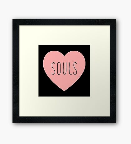 I Love Souls Heart | Dark Humor Hearts Print Framed Print