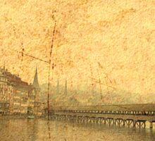 Golden Kapellbrucke in Lucerne Sticker