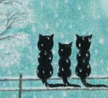 Cats Family in Snow: Three Cats Silhouettes with Tree and Snow Sticker