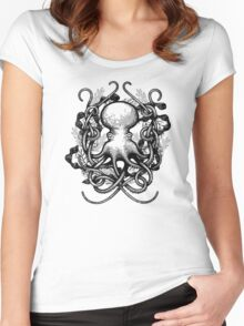 Octupus and COral Black and White Women's Fitted Scoop T-Shirt