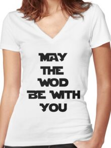 May The WOD Be With You - Black Women's Fitted V-Neck T-Shirt
