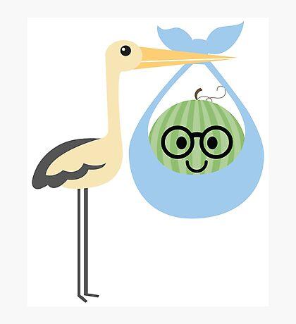 Stork Watermelon Emoji Nerd Noob Glasses Photographic Print