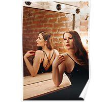 Seductive Woman in Black Dress Poster