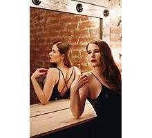 Seductive Woman in Black Dress Photographic Print