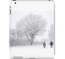 Snow Covered Tree & Dog Walkers iPad Case/Skin